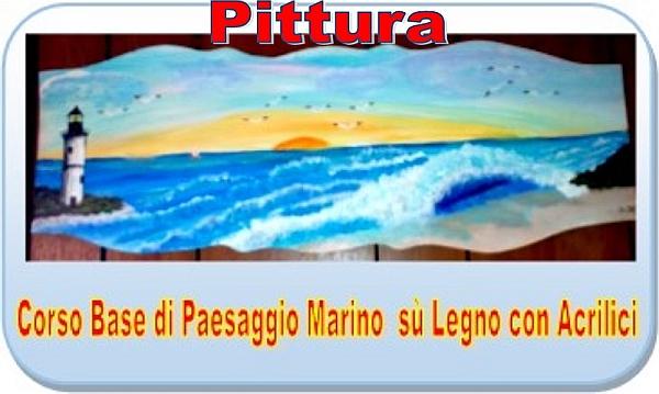 Paesaggio marino su legno con acrilici - Pittura base